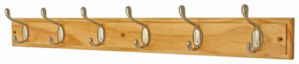 Headbourne Pine Board Satin Nickel Hook - 6 Hook